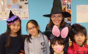 Kathy on Halloween with her students - Version 3